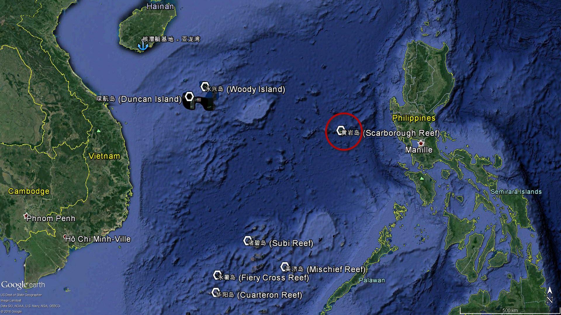 La localisation du récif de Scarborough en mer de Chine méridionale