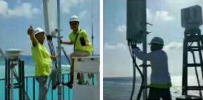 Les équipes de China Telecom travaillent sur une station de base 4G
