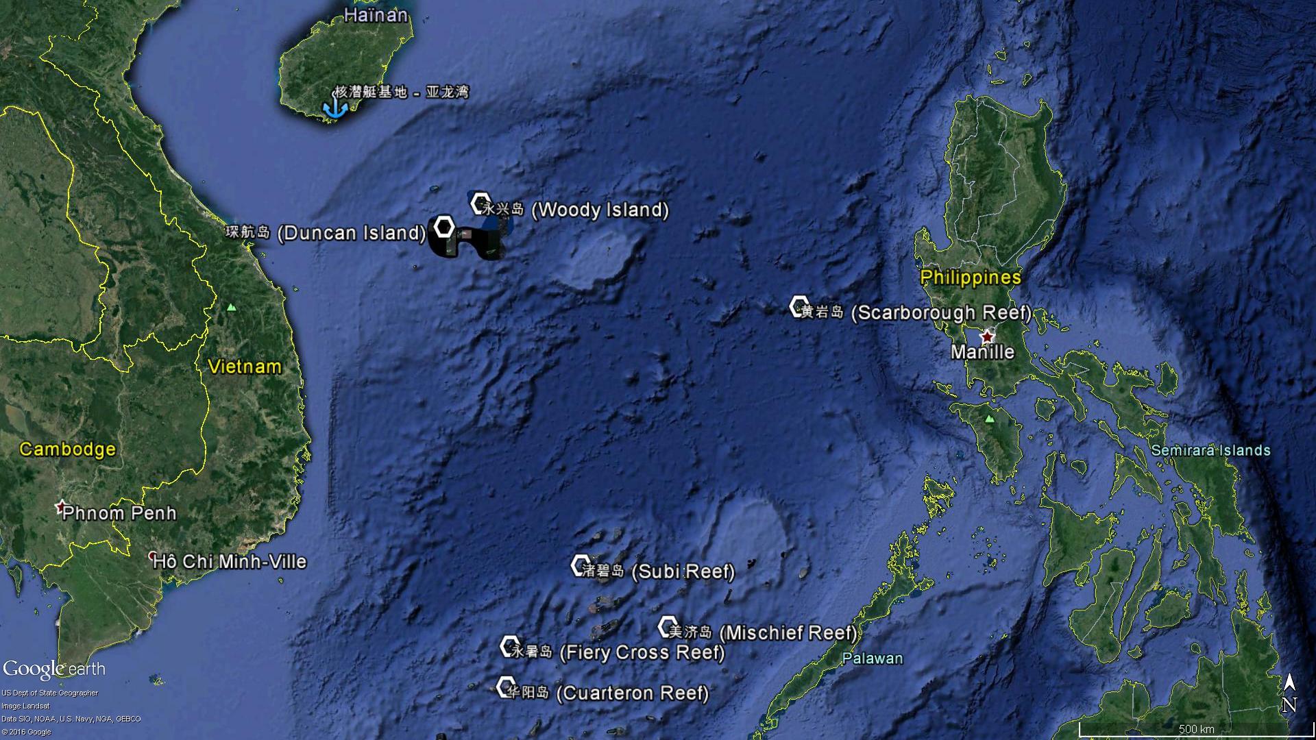 Les principales îles contrôlées par la Chine en mer de Chine méridionale