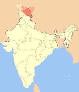 La région tranditionnelle de Ladakh, en rouge. (c Wikimedia)