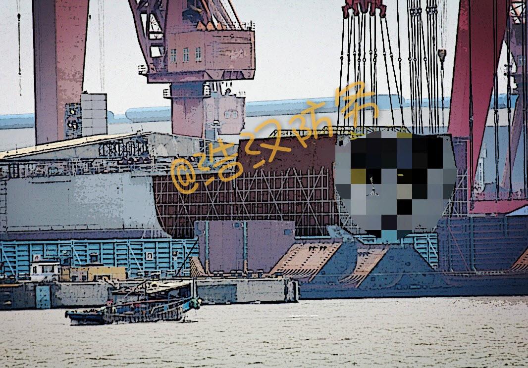 La section qui semble être la poupe du navire