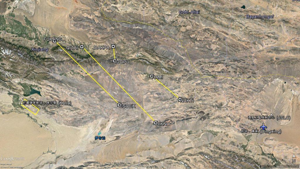 La zone et les segments de vol interdits de l'A2188/16 et de l'A2186/16