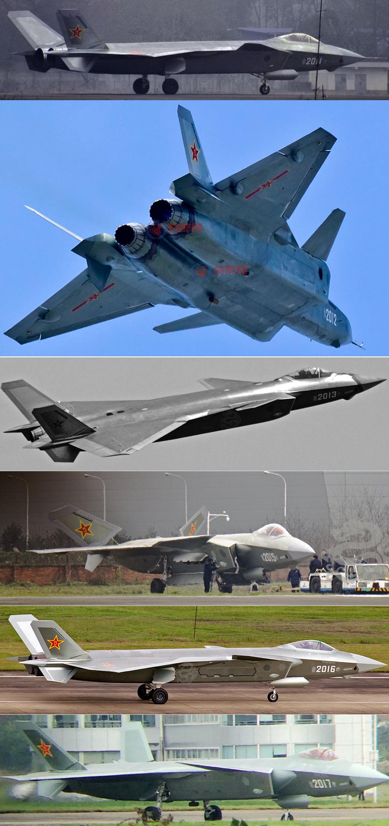 Peinture sur l'empennage en V des 6 prototypes de J-20