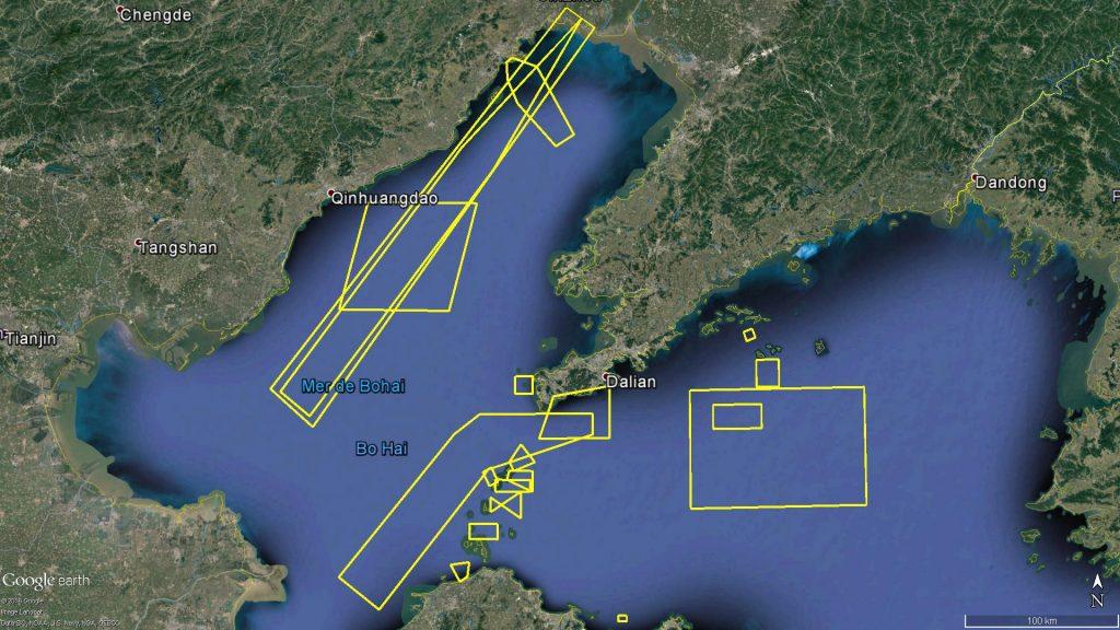 Zones d'exercice naval au golfe de Bohai en Août 2016