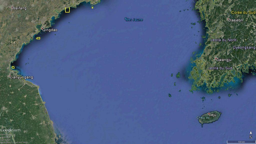 Zones d'exercice naval au Nord de la mer Jaune en Août 2016