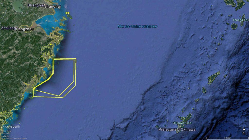 Zones d'exercice naval en mer de Chine orientale en Août 2016