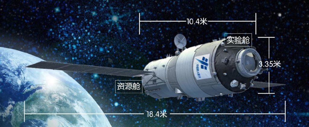 les dimensions du 2ème laboratoire spatial chinois TG-2