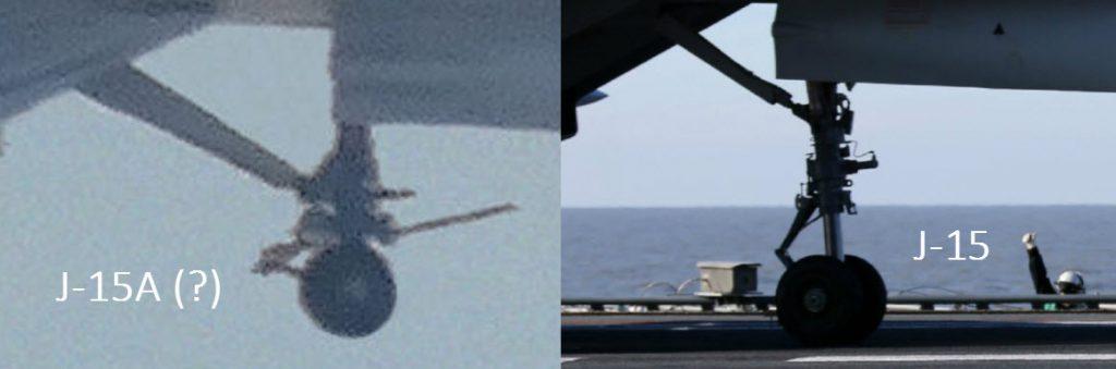 La différence au niveau du train d'atterrissage avant les deux version de J-15