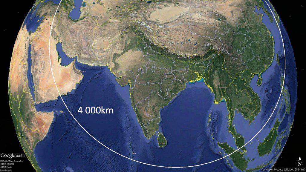 4 000km à partir de la cordillère de Kunlun