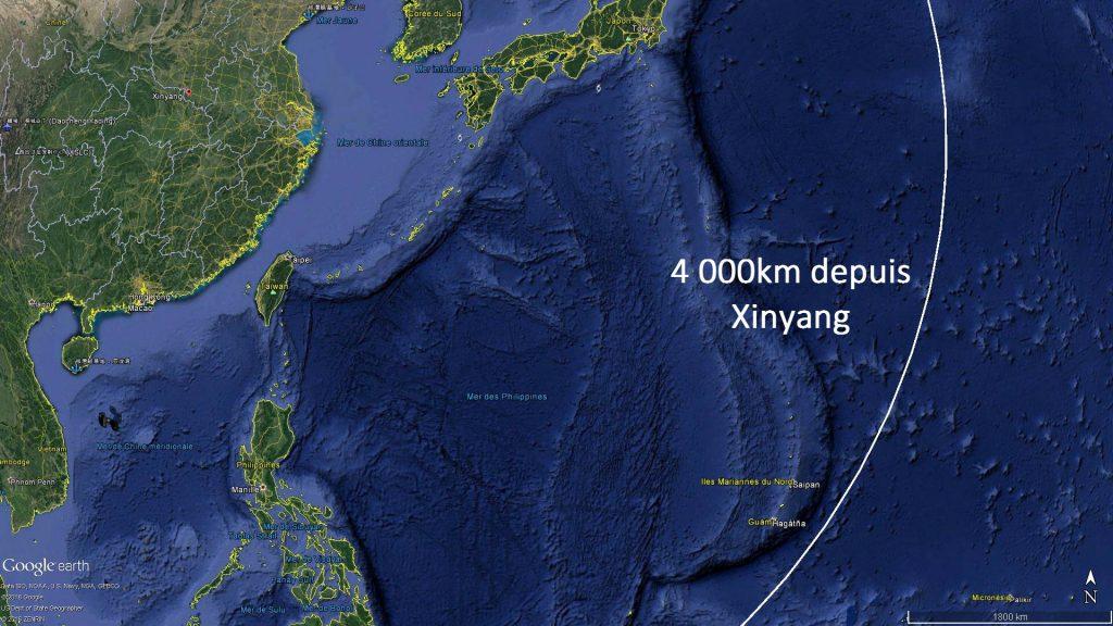 La portée du DF-26 depuis la ville de Xinyang