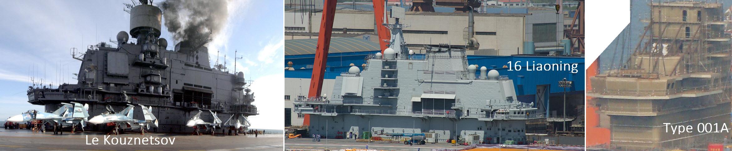 Comparaison des îlots de 3 porte-avions ayant la même origine
