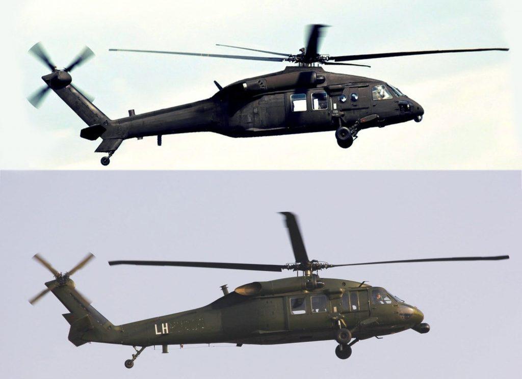 Le Z-20 (en haut) et le S-70C-2 de l'armée de terre chinoise
