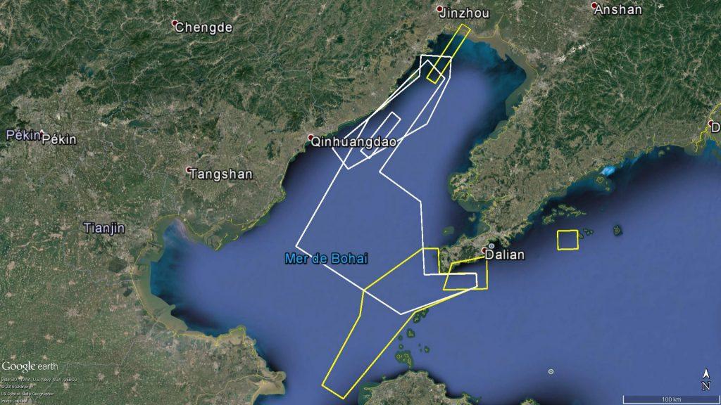 Zones d'exercice naval au golfe de Bohai : Septembre 2016