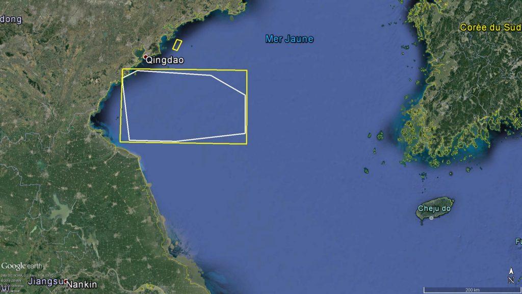 Zones d'exercice naval dans le Nord de la mer Jaune : Septembre 2016 | Source : DigitalGlobe et East Pendulum