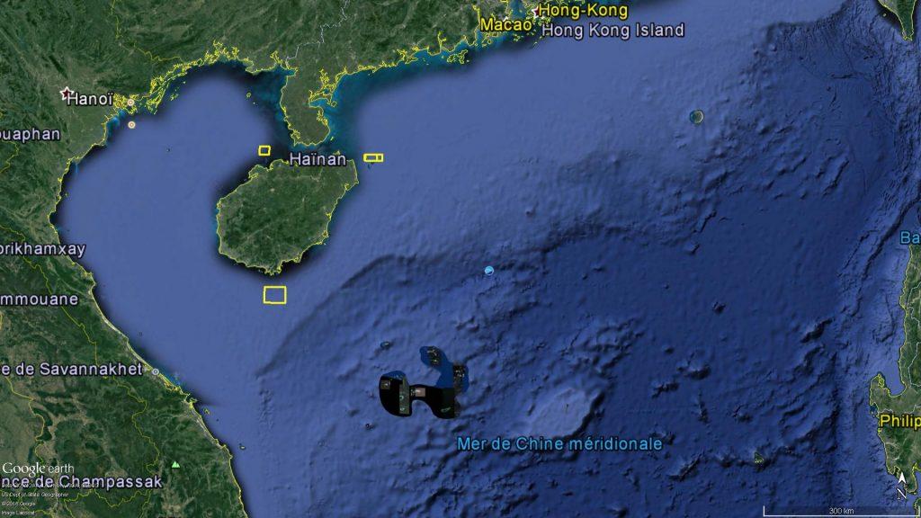 Zones d'exercice naval dans le Nord de la mer de Chine méridionale : Septembre 2016 | Source : DigitalGlobe et East Pendulum