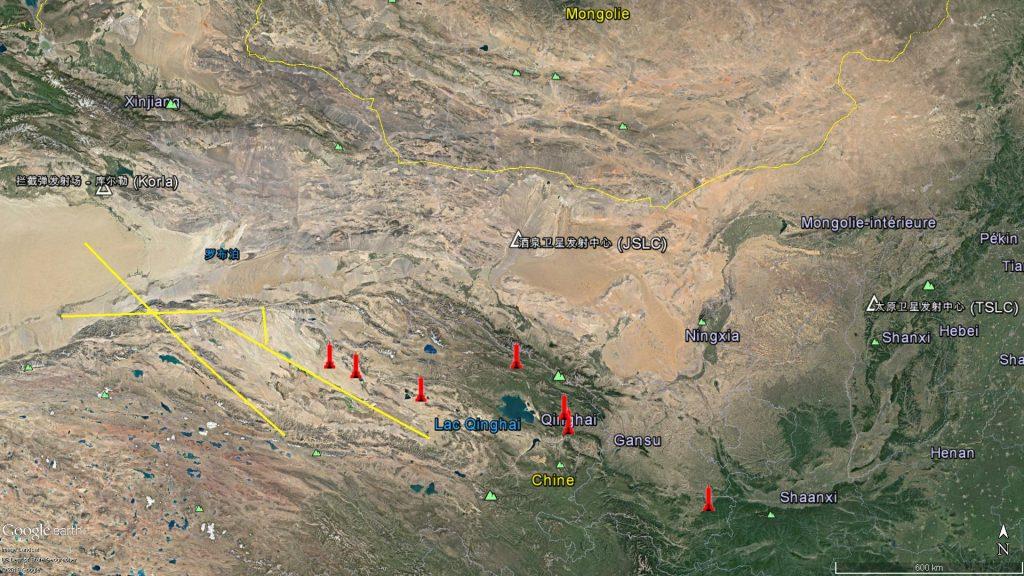 En jaune les segments aériens fermés par l'A2636/16 et l'A2639/16, en rouge les positions de tir possible.