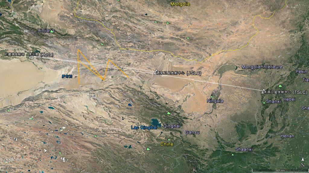En orange les 7 segments interdits de vol et en blanche les trajectoires possibles du missile.