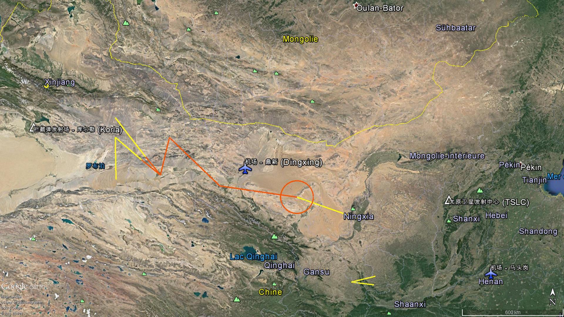 Les zones interdites de survol pour l'essai hypersonique du 15 Octobre 2016