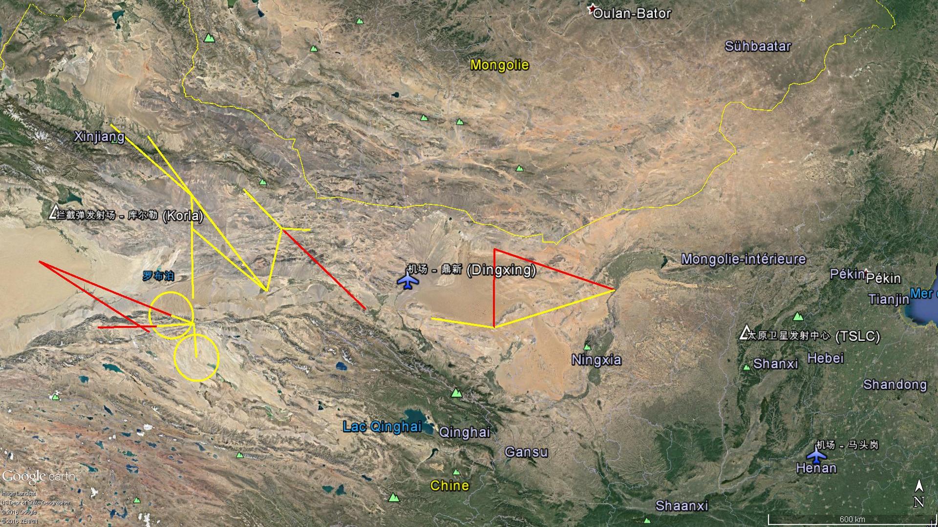 Les zones interdites de survol pour l'essai hypersonique du 28 Octobre 2016