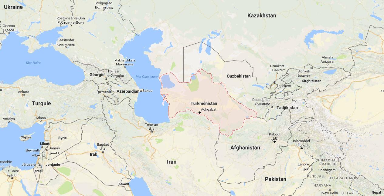 La localisation du Turkménistan