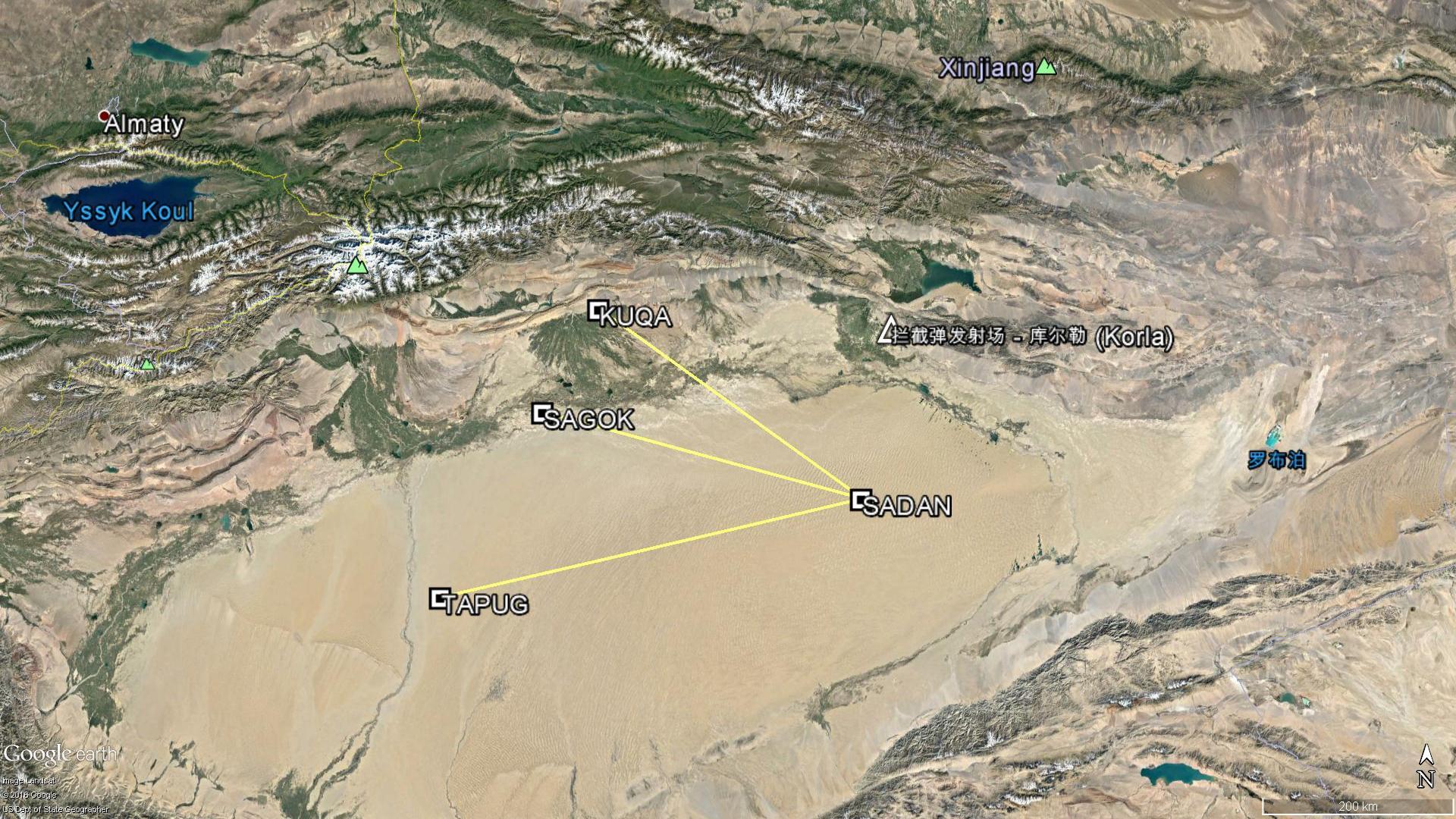 Les segments aériens fermés du NOTAM A2982/16 pour l'essai du 17 Novembre 2016