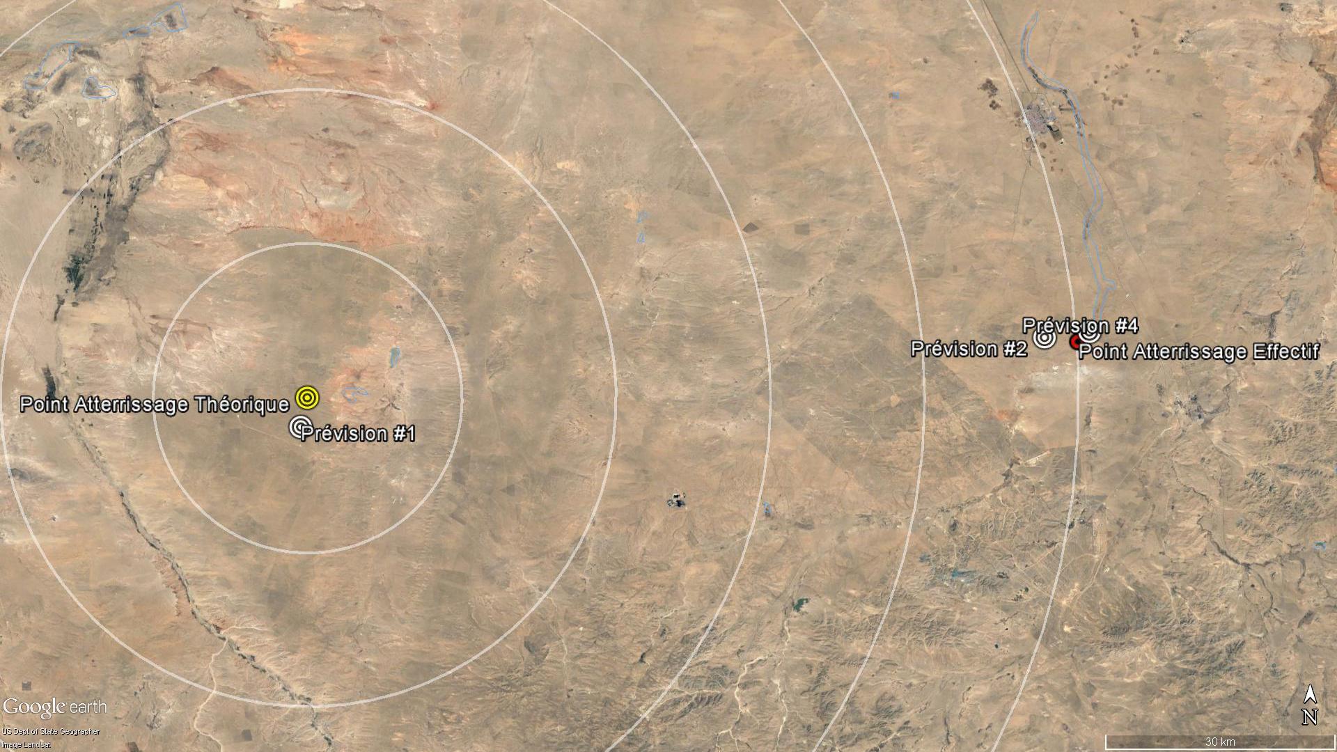 Les prévisions de point d'atterrissage de Shenzhou 11