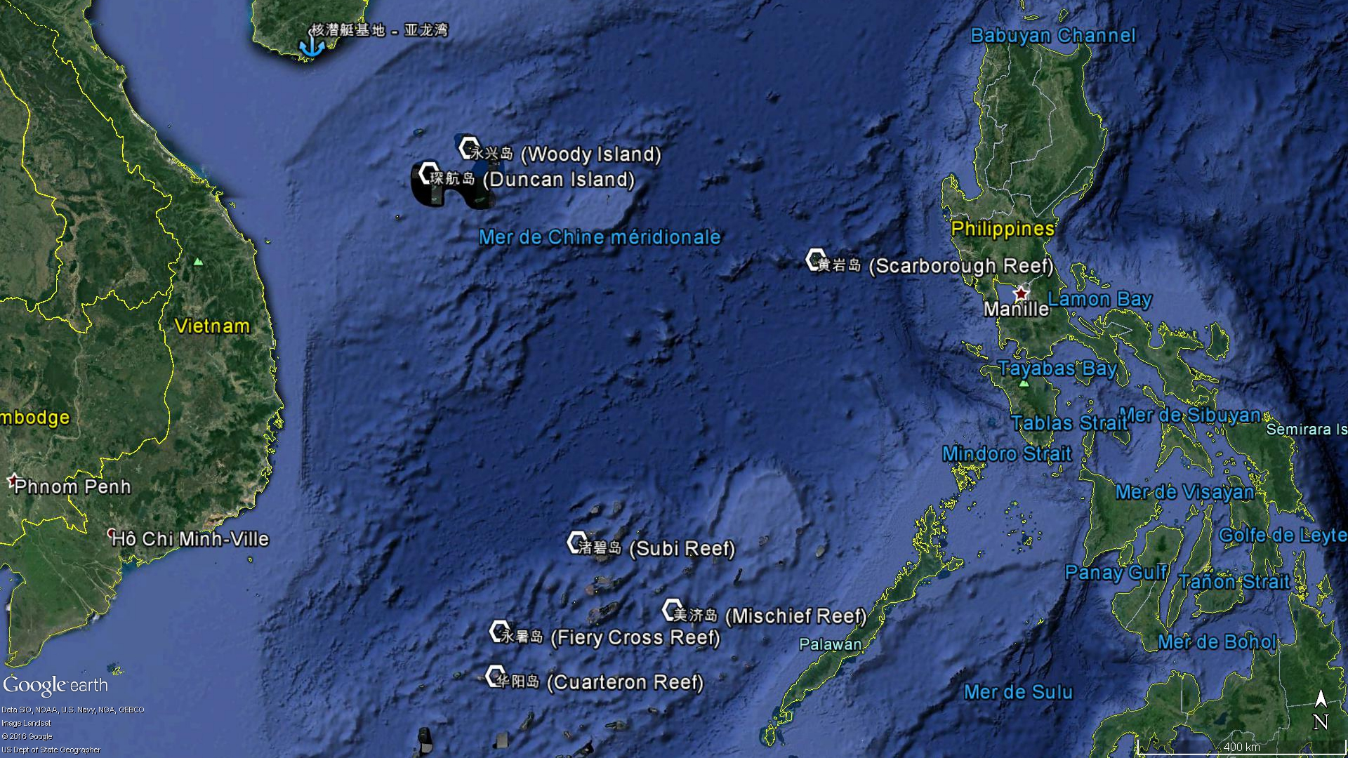 Les principaux îlots chinois en mer de Chine méridionale