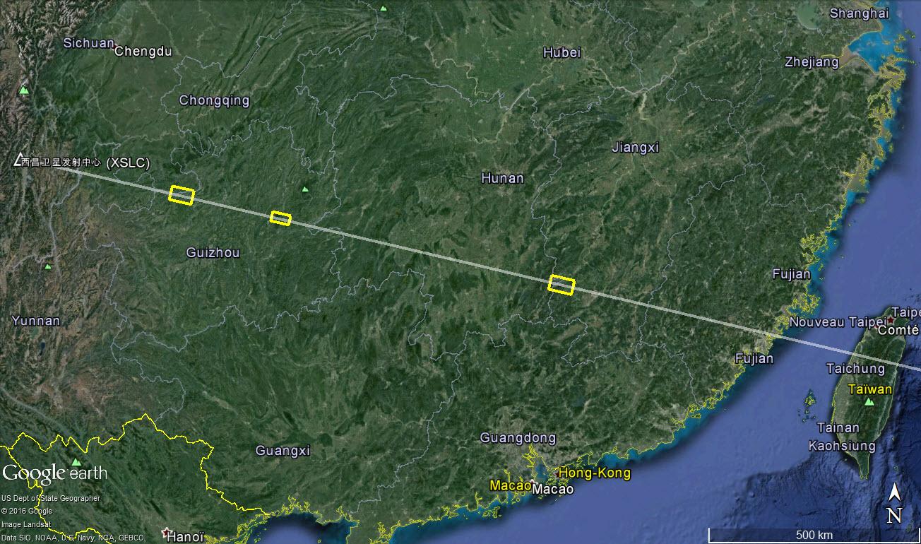 La trajectoire du lanceur CZ-3C pour le lancement de Tianlian 1-04