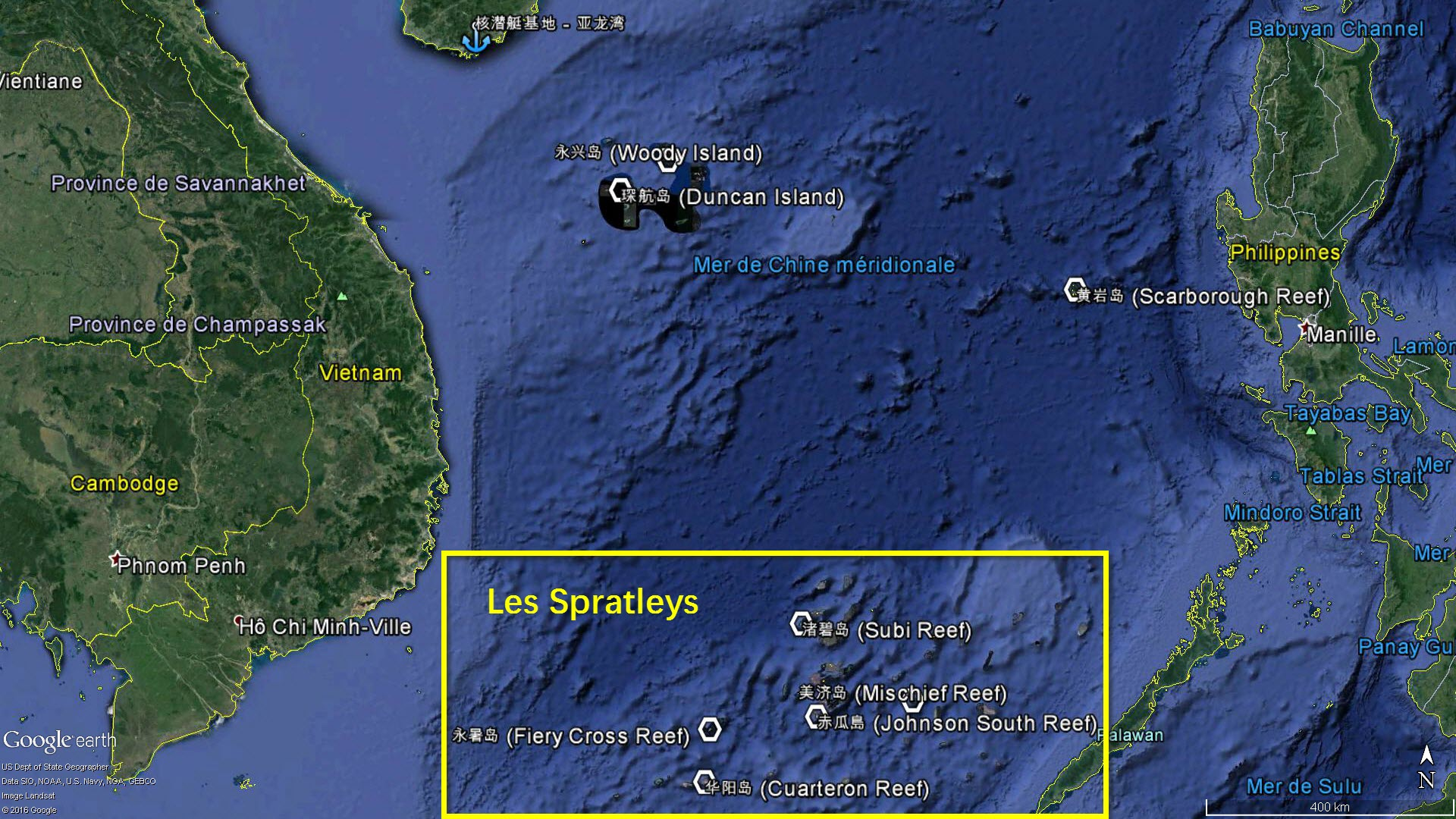 La localisation des principaux îlots chinois dans les Spratleys