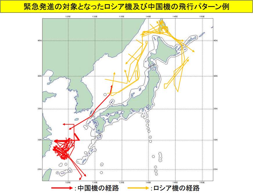 Trajectoires des appareils russes et chinois interceptés (Source : Ministère japonais de la Défense)