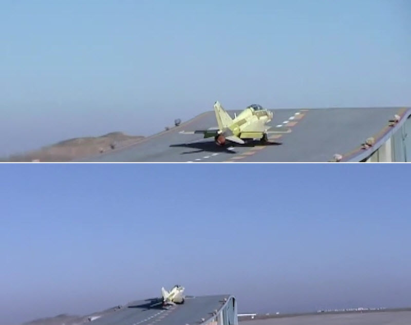Décollage sur tremplin d'un JL-9A de la marine chinoise
